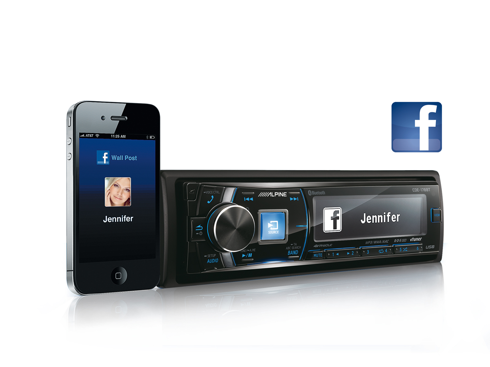 CD RECEIVER WITH BLUETOOTH® - Alpine - CDE-178BT